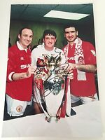RARE Steve Bruce Manchester United Signed Photo + COA AUTOGRAPH MAN UTD