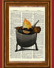 Calcifer Howl's Moving Castle Dictionary Art Print Poster Picture Anime Fire