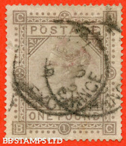 """SG. 136. J127 a. """" BC """". £1.00 Brown - Lilac. An average used example of B56803"""
