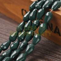 New Arrival 10pcs 16X10mm Faceted Teardrop Loose Spacer Glass Beads Deep Green