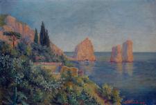 Antique painting. Coastal scenery Isle of Capri. Signed A. Lund, Italy 1909