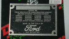 FORD DATA PLATE HOTROD/STREETROD/EARLY FORDS