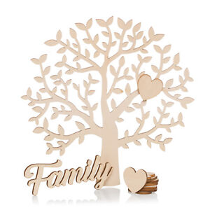 Family Tree Set Blank with Wooden Hearts Wood Family Plaque Craft Shape 20cm