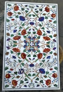 Marble Coffee Table Top Inlay Floral Pattern Patio Sofa Table Top 30 x 48 Inches