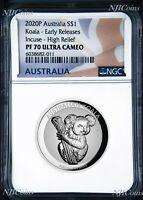 2020 Australia FIRST INCUSED HIGH RELIEF 1oz Silver Koala $1 Coin NGC PF70 ER FL