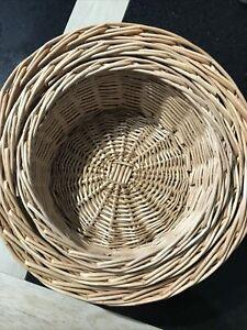 Set Of 3 Round Wicker Baskets (storage/crafting/hamper)