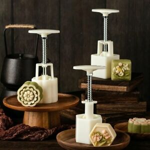 50g Mooncake Barrel Molds with 4 Flower Stamps Hand Press Moon Cake Pastry Mould