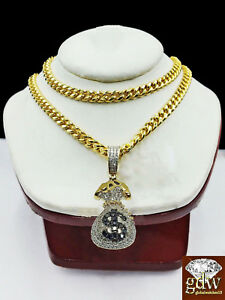 """Real 10k Yellow Gold Money Bag Charm with Real Diamond and 26"""" Miami Cuban Chain"""