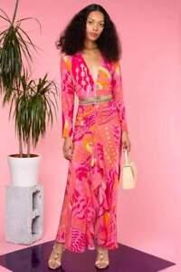 New Rixo Rose Pink Psychedelic Butterfly Silk Long Sleeve Midi Dress Sz S M L XL