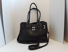 CALVIN KLEIN Leather Shoulder Handbag Black Crossbody Messenger Tote 3rd Strap