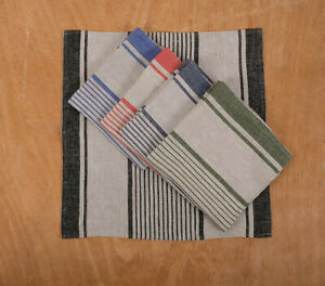 Napkins French grain sack flax stripes placemat linen cloth napkins 100% linen