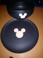 Walt Disney Large black Mickey Mouse bowl and plate. I believe 1970s?