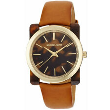 Michael Kors MK2484 Women's Kempton Brown Leather Stainless Steel Watch