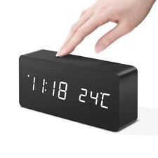 Wooden Digital LED Display Desk Table Alarm Clock Temperature Modern Home Decor