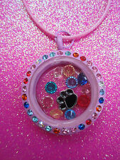 Living Memory Multi Crystal Pink Round Locket with 7 crystals and charm USA