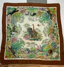 "Vintage GUCCI Jungle Print Animals Scarf Silk 34""x 34"""