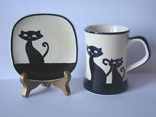 Hues N Brews Mug & Plate Black Siamese Cat & Kitten Coffee & Tea