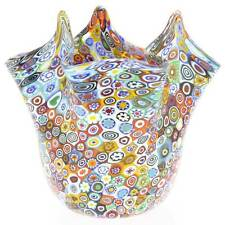 GlassOfVenice Murano Glass Millefiori Fazzoletto Bowl - Multicolor