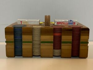 Antiguo Madera Póker Cajita Set con Dos Tarjeta Mazos