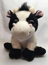 "Petting Zoo Puppy Plush Stuffed Farm Animal Big Eyed Cow White Black 8"" A8"
