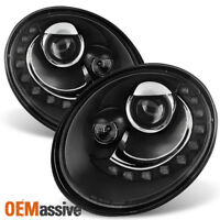 Fits 2006-2010 VW Beetle Black DRL LED Projector Headlights Head Lamps