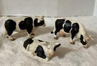 Vtg 3 Bullyland Hard Plastic Cow Set Play Barn Yard Animals Farm Germany (A