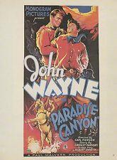 "1982 VINTAGE ""PARADISE CANYON, 1935"" JOHN WAYNE FIGHTING MINI POSTER Lithograph"