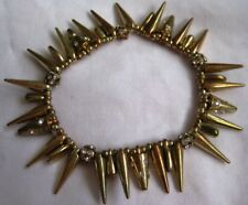 Vtg Stretch Spikes bracelet Gold plated 2 tones & rhinestones accents gift boxed
