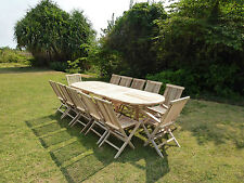 Salon de jardin en teck ensemble table HENUA + 10 chaises + 2 fauteuils JALANG