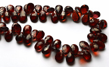 """134 CT 8"""" SUPER QUALITY RED COLOR GARNET FACETED PEAR SHAPE BEADS 8 TO 10 MM"""