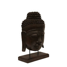 Buddha Relief ca. 50cm – Skulptur Maske Sockel Ständer Figur Albasia Holz braun
