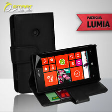 Black Wallet Flip Leather Case Cover Card Slot for Nokia Lumia 520 + Screen Guar