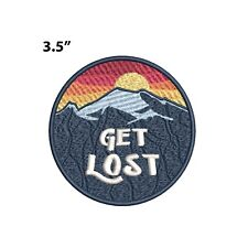 New ListingGet Lost - Mountains & Sunset Embroidered Patch Iron-on / Sew-on Nature Applique