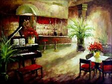 Stretched, Bar Counter with a Grand Piano, Quality Oil Painting, 30x40in