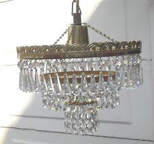 VINTAGE 1960/70s Stile Francese 3 livelli di Cristallo Lampadario Plafoniera