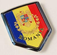 Romania Flag Emblem Chrome Car Decal Bumper Sticker 3D