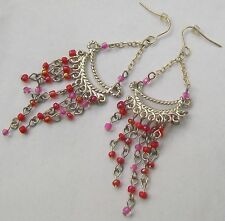 Red & Pink Beaded Silver Tone Mesh Earrings