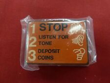 New Stop 123 Porcelain Orange Sign for Payphones Pay Phone Payphone Placard Info
