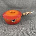 Vintage Le Creuset Enameled Cast Iron Saucepan #18 w/ LId wood Hand Flame Orange