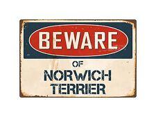 "Beware Of Norwich Terrier 8"" x 12"" Vintage Aluminum Retro Metal Sign Vs300"