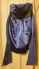 Love Tease Junior Size 3 Blue with Black sequins Strapless Dress    B6