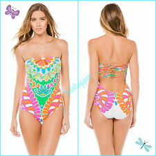 Trina Turk Tamarindo Sexy Bandeau Strappy Back One Piece Swimsuit NWT 12 $144