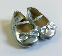 Janie and Jack Ballet Flats Baby Girl Size 1 Silver Bow Dress Shoes