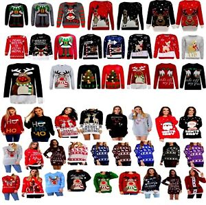 New Women Ladies Men Christmas Xmas Pullover Sweater Retro Novelty Jumper Sizes