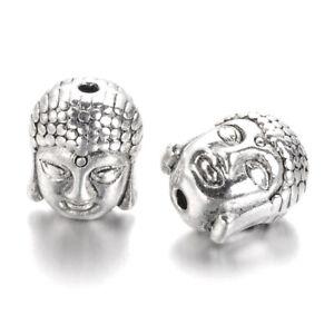 20pcs Tibetan Silver Alloy Buddha Head Beads Lead Free Metal Spacer Craft 11x9mm