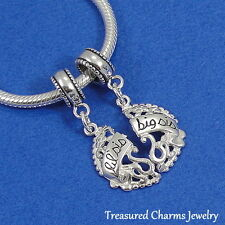 925 Sterling Silver Little and Big Sister Bead Charms - fit European Bracelets
