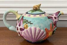 "Blue Sky Jeanette McCall Icing on the Cake ""Sea Stars & Scallops"" Tea Pot ~ Mint"