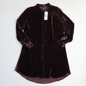 NWT Eileen Fisher Mandarin Collar Long Shirt in Cassis Velvet Button Tunic PS