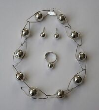 ECUADORIAN HAND CRAFTED STERLING SILVER BALL EARRING, NECKLACE & RING SET