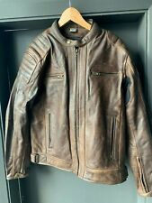 Large Leather Motorbike Motorcycle Jacket Short Biker Brown Distressed CE Armour